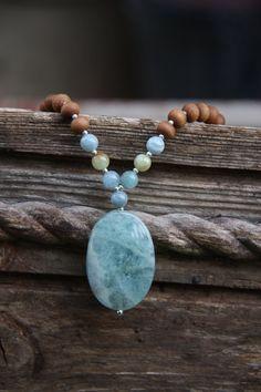 Aquamarine Sandalwood Mala - Meditation Inspired Yoga Beads