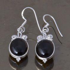925 STERLING SILVER LADIS BLACK ONYX EARRING 4.44g DJER3358 #Handmade #EARRING