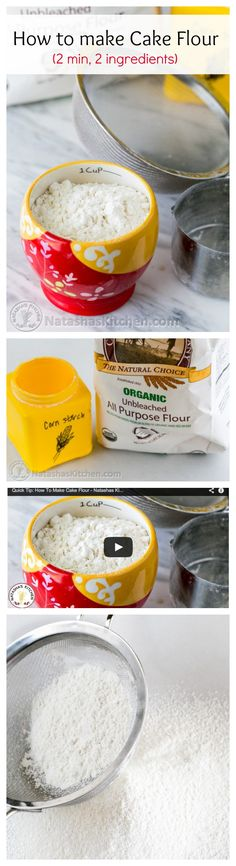 Make your own cake flour in 2 minutes with just 2 ingredients (includes great video tutorial!) @natashaskitchen