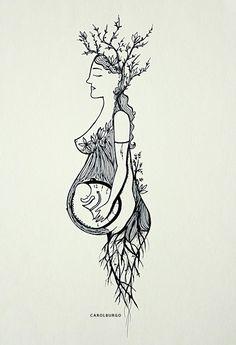 Tattoo tree of life midwife Ideas Tatto Skull, Wicca, Birth Art, Pregnancy Art, Sacred Feminine, Art Plastique, Painting Inspiration, Zentangle, Painting & Drawing