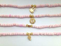 Pink Seed Bead Bracelets - Friendship Bracelets with Charms via Etsy