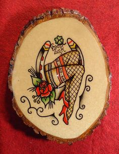 Traditional American Tattoo Style Original Sexy Horse Shoe Water Color Hand Painted Plaque