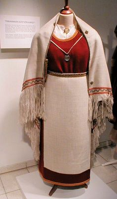 """recreation of an ancient dress of Perniö, Finland, based on grave findings, viking age"""