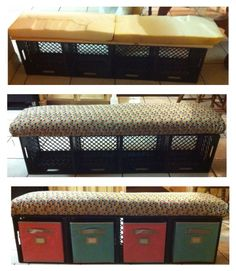 Crate bench with storage bins for students' journals... Super simple to make and not very costly. Supplies: milk crates (got them for free from Kroger), zip ties, plywood board, foam, fabric and matching storage drawers (from Lowes)