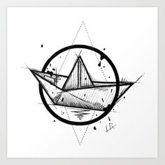 Paper Boat Handmade Drawing, Made in pencil and ink, Tattoo Sketch, Tattoo Flash, Blackwork Art Print by lucagenart Origami Tattoo, Tattoo Paper, Boat Drawing, Paper Drawing, Geometric Drawing, Geometric Art, Boat Tattoos, Small Tattoos, Boat Sketch