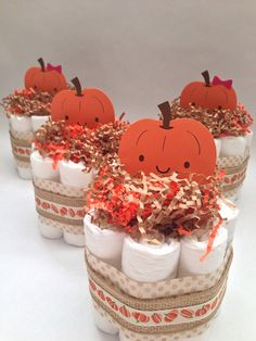 FOUR Little Pumpkin Diaper Cakes Baby by MrsHeckelDiaperCakes