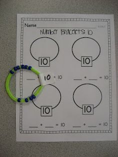 "Adding bracelets worksheets...shown in the blog linked here, downloadable at Teachers Pay Teachers for $2: http://www.teacherspayteachers.com/Product/Number-Bracelets-Common-Core-KOA3 .  Great idea for independent learning, a Workbox or ""Tot Tray"" concept."