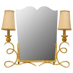Art Deco Lamp-Flanked Vanity Mirror attributed to Rene Drouet