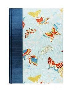 "GORGEOUS Address Book Large ""BLUE SKY Butterflies"" by WolfiesBindery SALE $25"