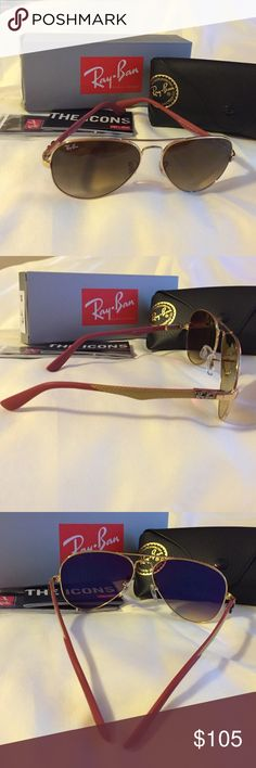 Ray Ban Carbon Fibre Authentic and brand new Aviator carbon Fibre. Model: RB8395 001/80 58 14. Frame color: Gold, brown. Lenses: Brown gradient. Size lens: 58 14. Temple length: 140. It comes with black case, cleaning cloth, Icons booklet, and info booklet. Ray-Ban Accessories Sunglasses
