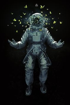 The #spaceman and his #butterflies #illustrations