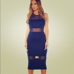 Navy blue midi w/ mesh panels Brand new with tags - to the knee - navy blue - super cute Dresses