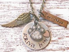Angel Dog, Cat - Pet Remembrance Hand Stamped Personalized Necklace - Forever in my Heart | LilyBrookeVintage - Jewelry