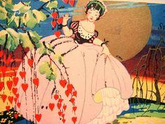 Sweetheart Valentine Art Deco LADY Gold Full MOON