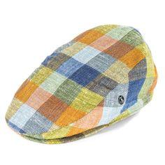 be873b3ed5391 City Sport Caps Henri Silk Linen Flat Cap - Multi Check Mens Flat Caps