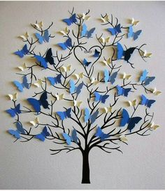 Butterfly tree craft gifts for grandparents Family Tree of Butterflies in YOUR Choice of Colors for Each Generation / Personalized with Fa Home Crafts, Diy And Crafts, Crafts For Kids, Arts And Crafts, Paper Crafts, Diy Paper, Craft Ideas For Teen Girls, Paper Flowers Craft, Decor Crafts