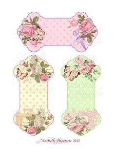 Shabby Chic Roses, Butterflies and Sewing Ephemera Ribbon or Lace Holder -  Instant Digital Download