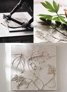Basteln-Ideen-mit-Gips---originelle-Geschenkidee-und-DIY-Deko-mit-blumen-fossilen