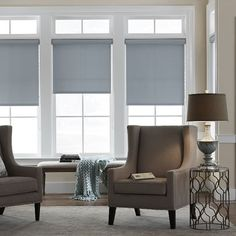 Shop Custom Home Collection Economy Roller Shades, Room Darkening Roller / Solar Shades at TheHomeDepot. Get free samples here. Blinds Design, Window Design, Cortina Roller, House Blinds, Blackout Blinds, Blackout Shades, Solar Shades, Mini Blinds, Blinds Diy