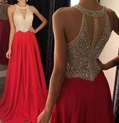 Cool Awesome 2017 Red Chiffon Evening Dresses Long Prom Gowns Party Dress Custom Made  2018