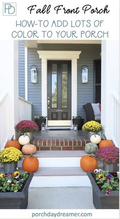 How-to design a colorful fall front porch. Decorating ideas with lots of color! Learn how to choose complementary colors for your fall decor. Mix pansies, mums, cabbage, and pumpkins for a unique fall front porch. #fallfrontporch #falldecoratingidea #falldecor #fallideas #pumpkindecor #fallmums #porchdayd