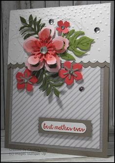 handmade card from King's On Paddington: Flowers for Mum ... die cut Botanical Blooms ... great card ... Stampin' Up!