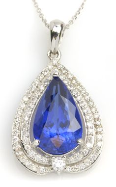 Get a glimpse of premium-grade jewelry from our Vault Collection! Item #447-76916 5.00 ct Tanzanite Pear & 0.53 ctw Diamond Round 14K White Gold Pendant Length 18 - Gem Shopping Network