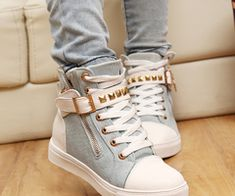 Hot-selling autumn personality rivet high top side zipper hasp women elevator shoes fashion canvas shoes-ZZKKO #Zipper #Sneakers #Shoes