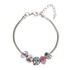 """Pandora"" / European Style Starter Bracelet + 5 Beads - 8.25"" (21 cms) - Silver Tone Metal ~ Pink, Green and Iridescent Crystal (FB157) Serenity Crystals, Inc.. $16.99. Trendy, affordable and beautiful... Lobster claw end of bracelet unscrews so you can add or remove beads easily... Made of glass and crystal and makes the perfect gift... Fits all Pandora, Biagi, Chamilia, Troll and other similar style European master bracelets... Core is rhodium plated and measures approxi..."