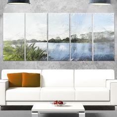 Designart 'Beautiful River Bank in Summer' Landscape Glossy Metal Wall Art