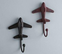 Plane Hooks - this would be a cute idea for some of my kid's old cars and trucks too.