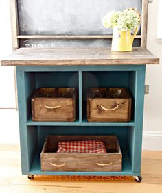 Turn Old Bookshelf Into Rolling Kitchen Island! - turn old bookshelf into rolling kitchen island, diy, painted furniture, repurposing upcycling, shelv - Rolling Kitchen Island, Stools For Kitchen Island, Kitchen Islands, Kitchen Carts, Cute Kitchen, New Kitchen, Kitchen Decor, Design Kitchen, Rustic Kitchen