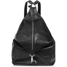 TOPSHOP Clean Clip Backpack ($160) ❤ liked on Polyvore featuring bags, backpacks, black, backpack, topshop, leather, leather zipper backpack, topshop backpack, leather daypack and real leather backpack