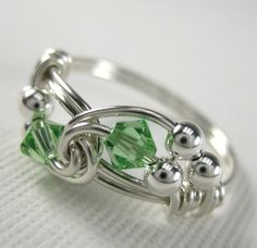 Peridot Ring Wire Wrapped Sterling Silver Duet via Etsy.