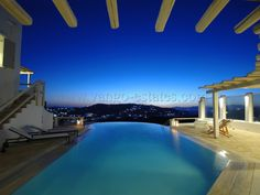 A pool facing the sea in Mykonos, Ornos beach area. Ideal for special holidays in the Cyclades.  www.vango-estates.com