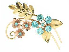 Retro Blue Zircon Flower Brooch in 14K #500101