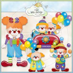 Clowns 1 - NE Kristi W. Designs Clip Art