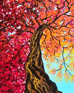 Autumn Painting, Autumn Art, Texture Painting, Painting & Drawing, Watercolor Paintings, Guache, Paint And Sip, New Wall, Tree Art