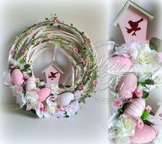 Easter Wreath - wood wreath form, pink birdhouse, eggs and flowers Easter Wreaths, Holiday Wreaths, Holiday Crafts, Easter Flower Arrangements, Easter Flowers, Easter Projects, Easter Crafts, Hoppy Easter, Easter Eggs
