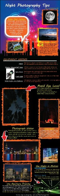 Night photography tips infographic