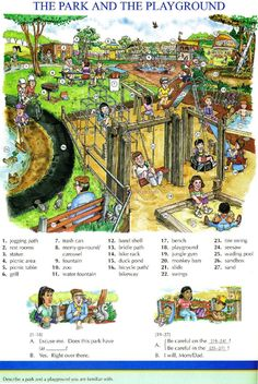 96 - THE PARK AND THE PLAYGROUND - Picture Dictionary - English Study, explanations, free exercises, speaking, listening, grammar lessons, reading, writing, vocabulary, dictionary and teaching materials
