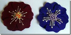Felt flower brooches