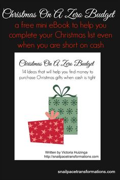 Grab your free mini eBook and complete your Christmas list ...no matter how little your Christmas fund may be.
