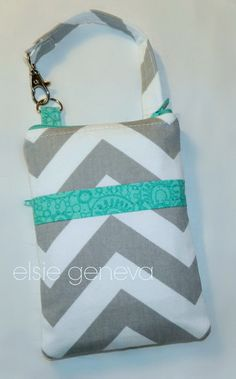 READY TO SHIP Grey and White Chevron with Turquoise by elsiegeneva, $30.00