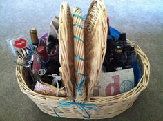 Bridal Shower Gift- Wedding Wine Basket. It's a wine poem with bottles of wine for all the firsts in the first year of marriage (Wedding Night, X-mas, Fight, Thanksgiving, New Years, Valentines, Dinner Party, Anniversary). Great Bridal Shower Gift or Wedding Gift!