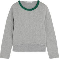 Vika Gazinskaya - Cropped Quilted Stretch-cotton Sweatshirt - Gray