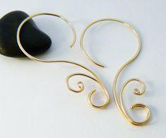 Gold hoop earrings  Swirly hoop  Gold filled hoop by atelierblaauw, $36.95