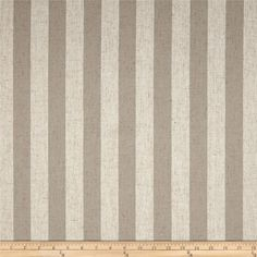 Waverly Margate Stripe Twine from @fabricdotcom  This plain weave fabric is medium/heavyweight and features the durability and versatility of polyester with the classic rustic charm of linen in a lovely yarn dyed stripe. It is perfect for window treatments (draperies, valances), toss pillows, duvet covers, and upholstery projects. Colors include cream and taupe.