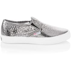 White House Black Market 2311 Superga Metallic Snake Print Sneakers ($90) ❤ liked on Polyvore featuring shoes, sneakers, flats, zapatos, slip on shoes, snake skin flats, metallic sneakers, snakeskin slip on sneakers and snake print flats