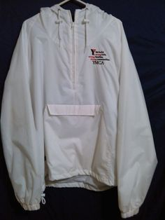 Charles River Apparel New YMCA XXL White Hood Waterproof Jacket Raincoat